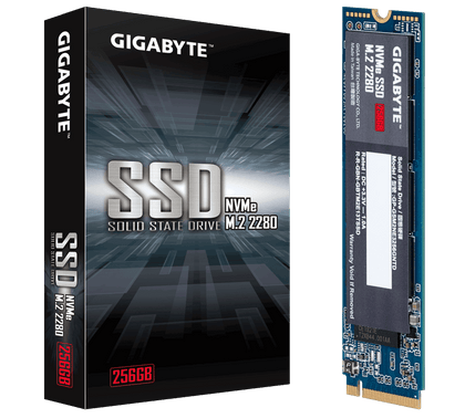 Gigabyte, Ssd, M.2(2280), Nv Me, Pcie 3x4, 256 Gb, Read:1700 Mb/S(180k Io Ps),Write:1100 Mb/S(250k Io Ps), 2.6 W, 5 Years Limited Warranty