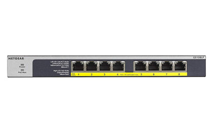 Netgear 8 Port Po E/Po E+ Gigabit Ethernet Unmanaged Switch With 60 W Po E Budget, Rack Mount Or Wall Mount
