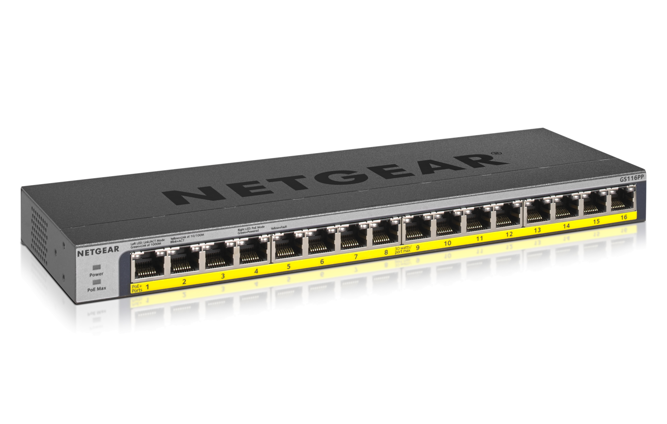 Netgear 16 Port Po E/Po E+ Gigabit Ethernet Unmanaged Switch With 183 W Po E Budget, Rack Mount Or Wall Mount (Gs116 Pp