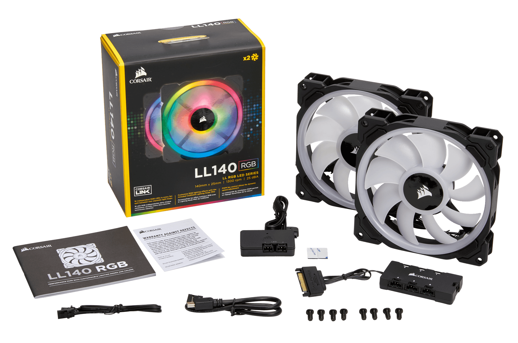 Corsair LL Series, LL140 RGB, 140mm Dual Light Loop RGB LED PWM Fan, 2 Fan Pack with Lighting Node PRO