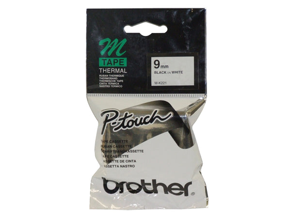 Brother MK221 9MM BLACK ON WHITE M TAPE