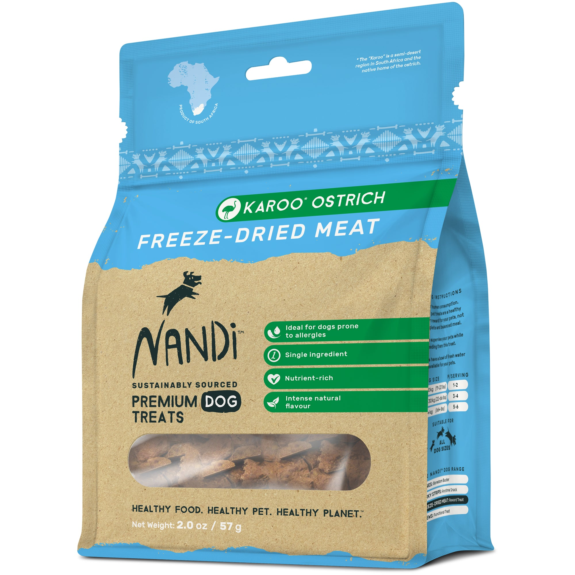 Nandi Freeze Dried Meat Pet Treats  - Karoo Ostrich (57g)