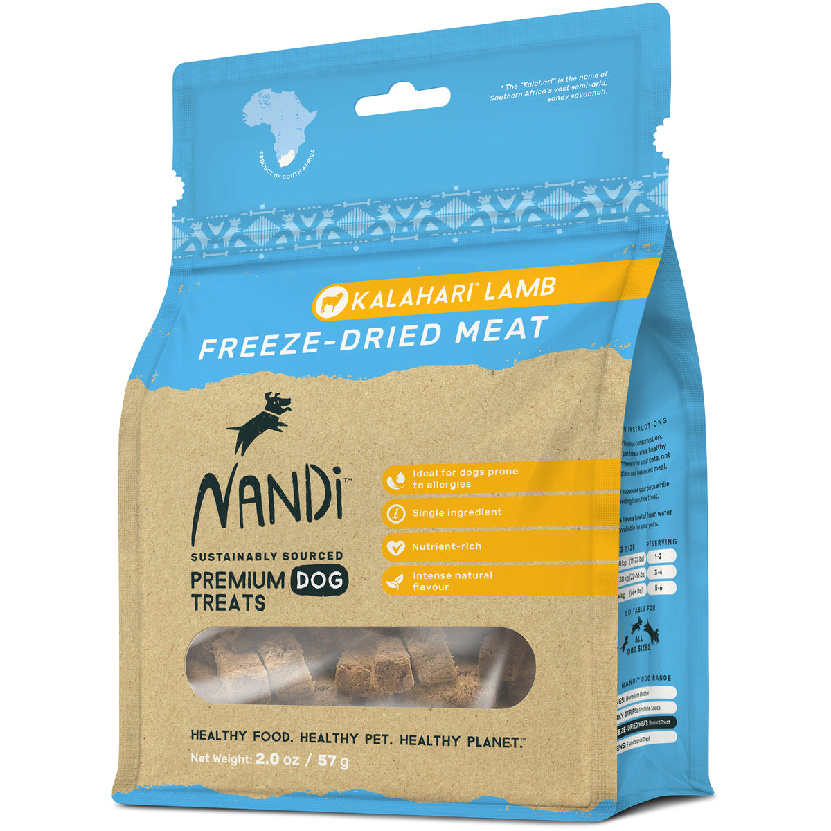 Nandi Freeze Dried Meat Pet Treats -Kalahari Lamb  57g