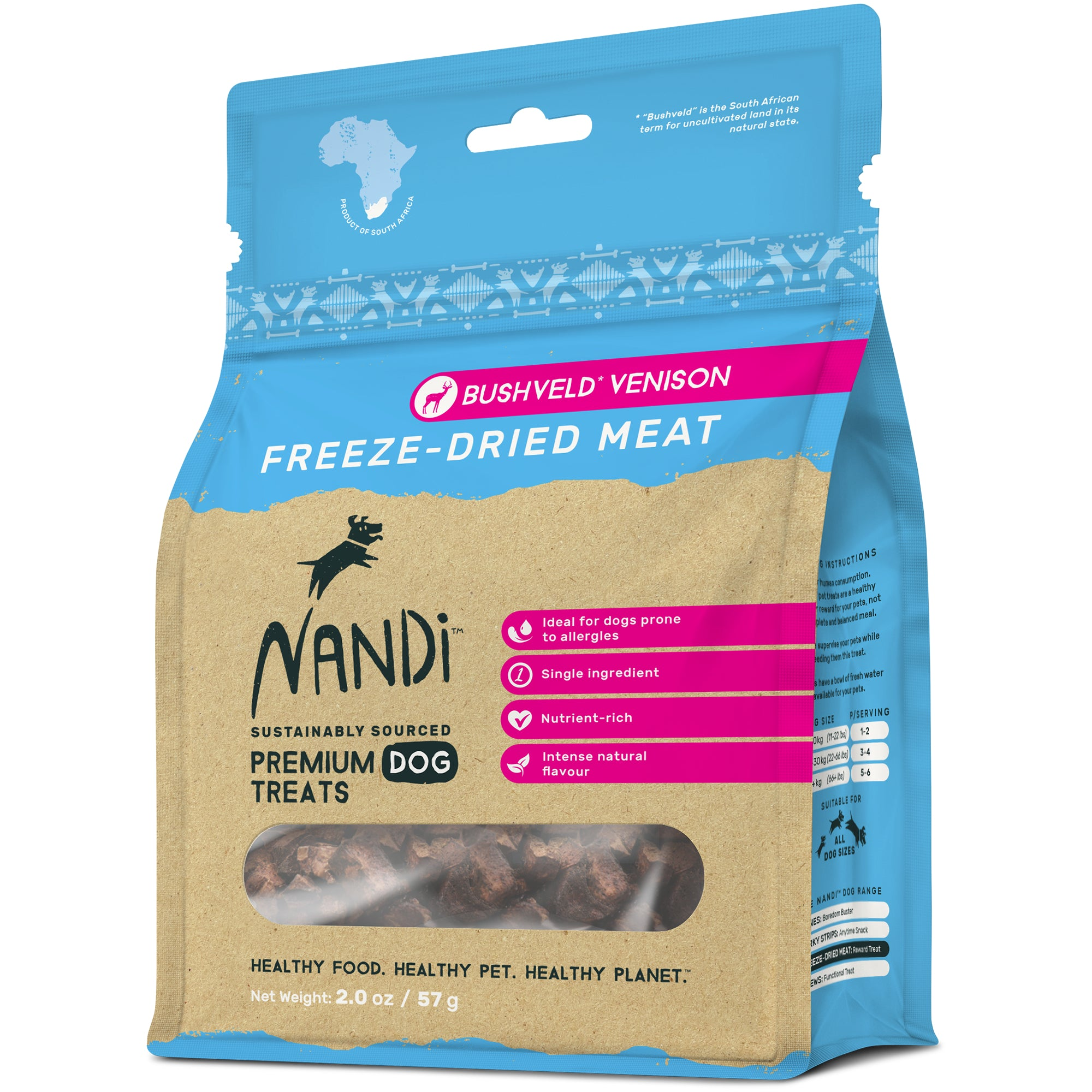 Nandi Freeze Dried Meat Pet Treats  - Bushveld Venison (57g)