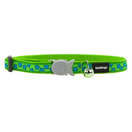 Red Dingo Cat Collar - Stars on Lime Green - XS