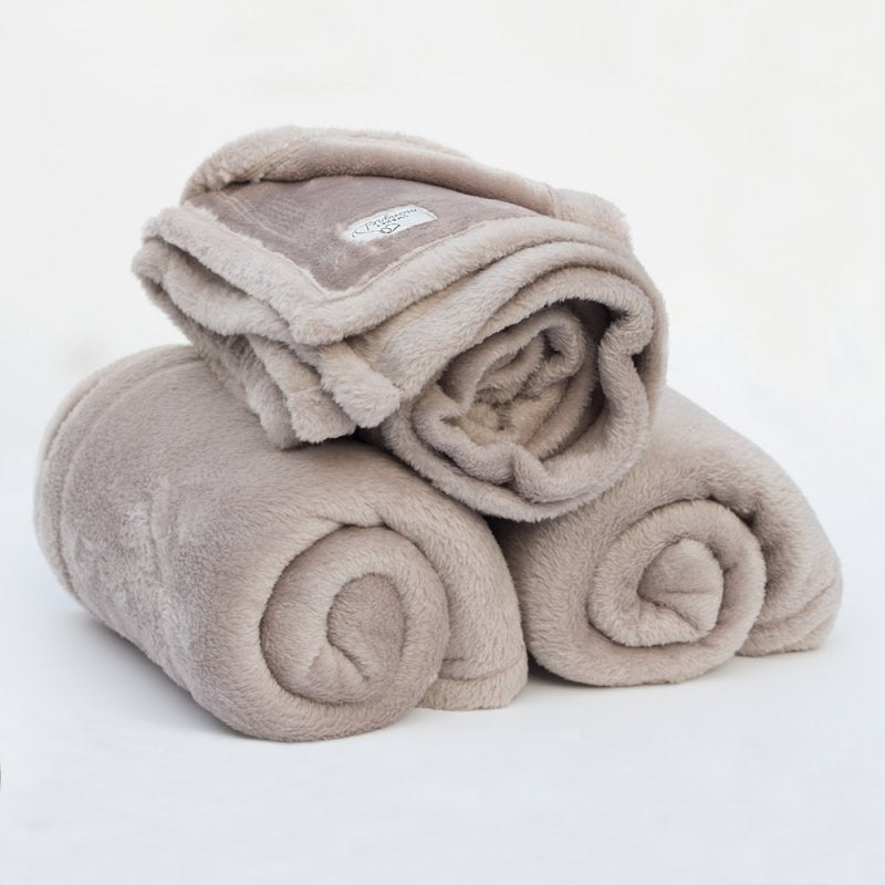 Mongolian  Fleece Pet Blanket - Mocha