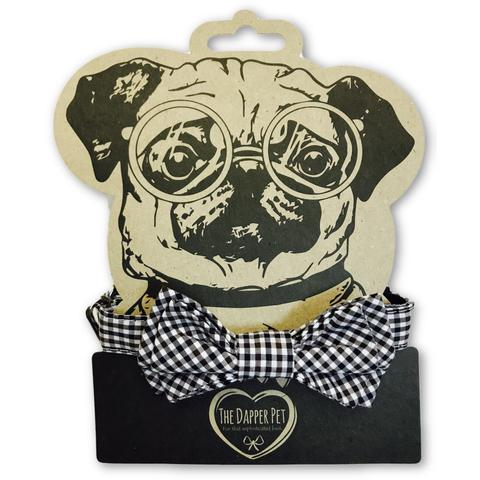 The Dapper Pet Black Checkered Bow Tie Dog Collar