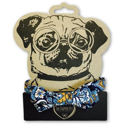 The Dapper Pet Designer Blue/Paisley Bow Tie Dog Collar