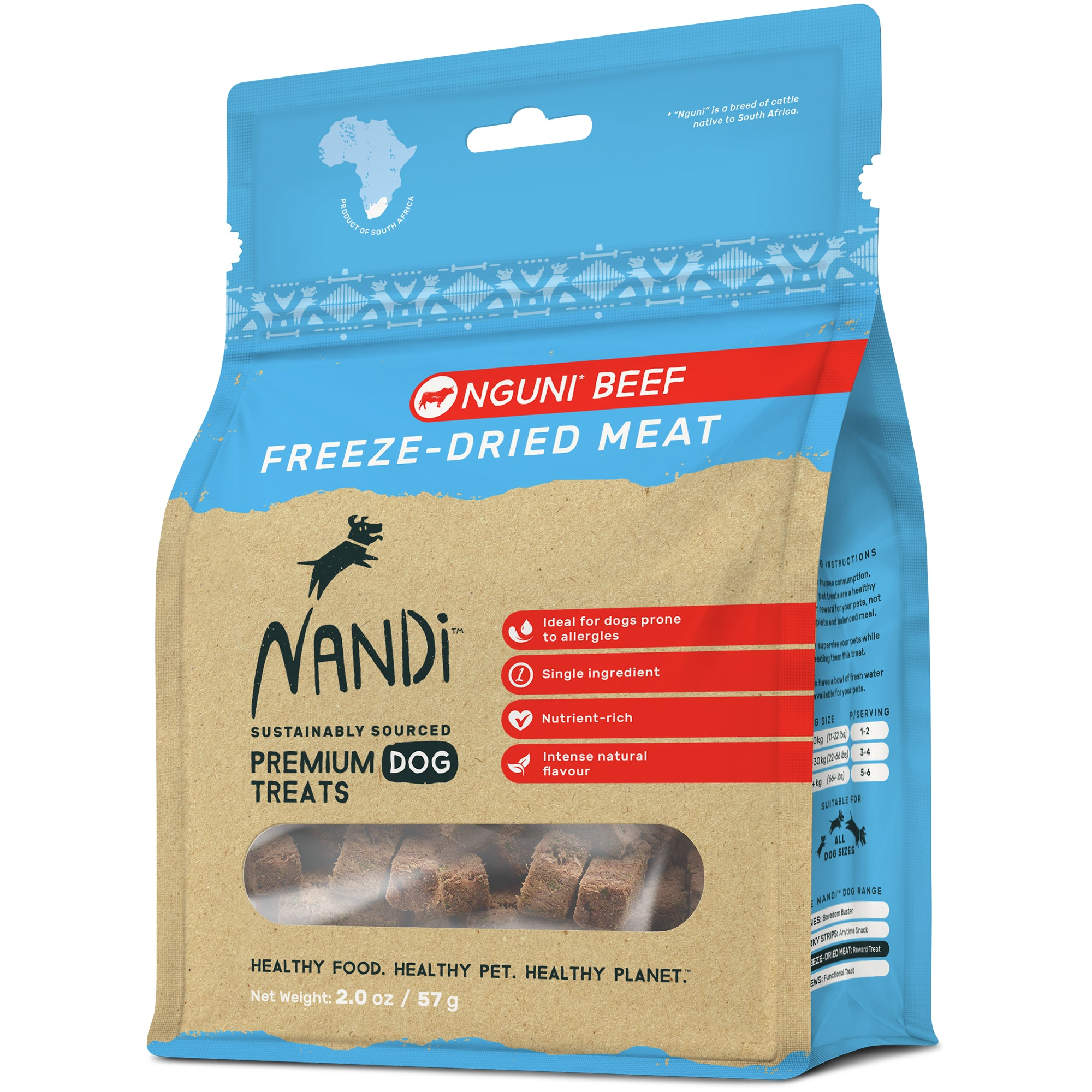 Nandi Freeze Dried Meat Pet Treats -Nguni Beef  57g)