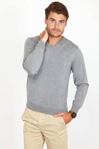 V-Neck Jumper, 100% Merino Wool, Fine Italian Yarn