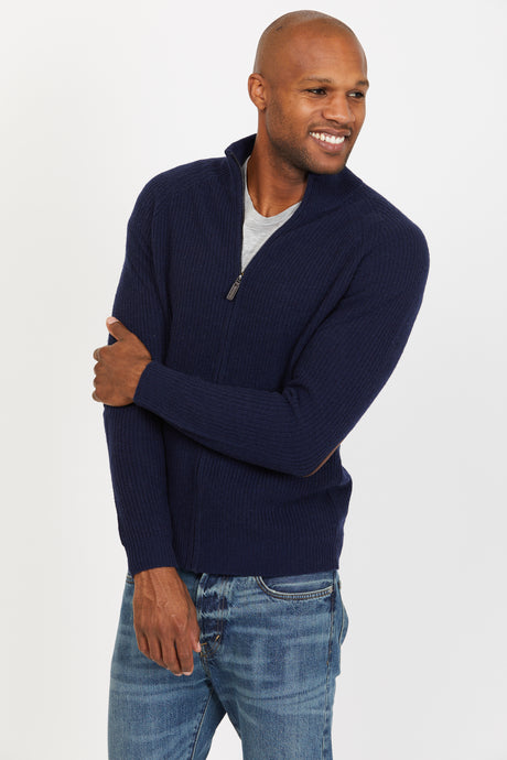 Ribbed Zip Up, 100% Lambswool