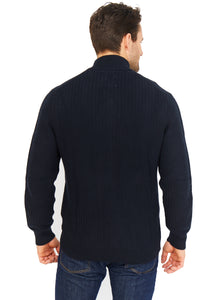 Waffle-Knit Cotton Zip Up Jumper