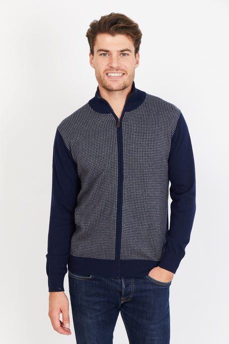 Houndstooth Zip Up, Cotton Cashmere blend