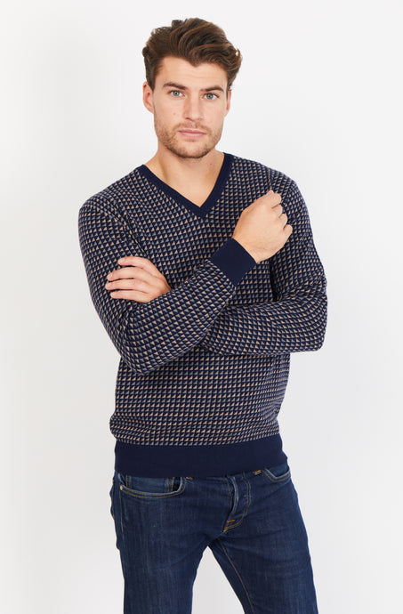 V-Neck Jumper, Cotton Cashmere blend