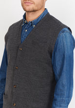Load image into Gallery viewer, Sleeveless Cardigan, Merino Wool blend - Charcoal