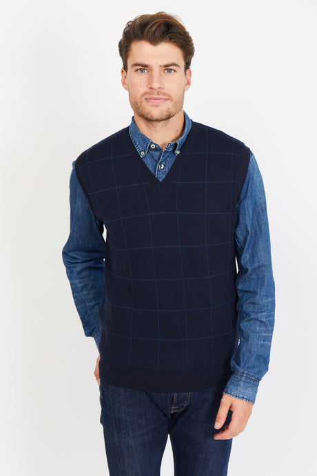 Windowpane Vest, Merino Wool blend