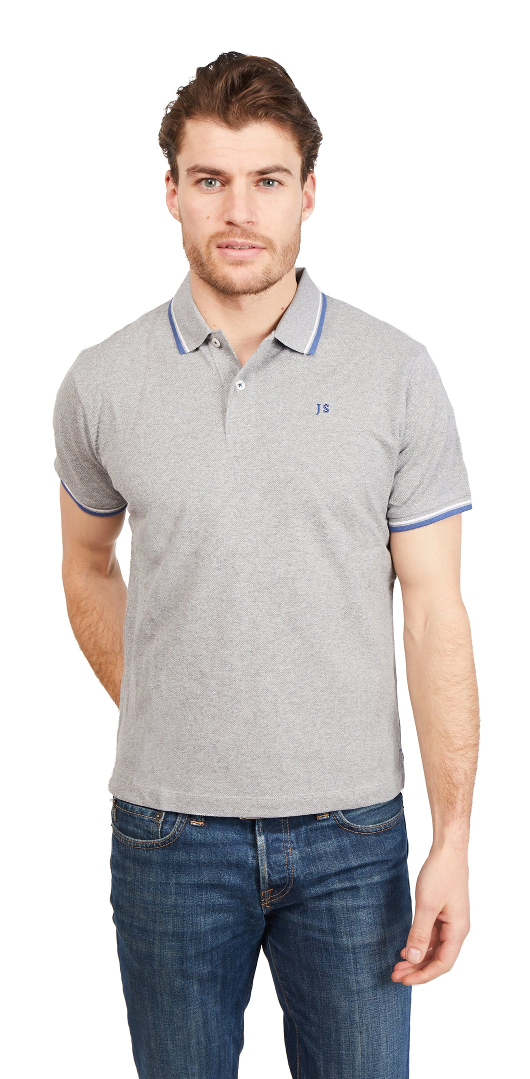 Twin Tipped Polo Shirt - Heather Grey