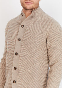 Diamond-Knit Lambswool Cardigan