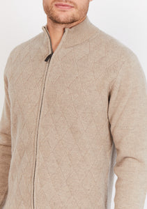 Diamond-Knit Lambswool Zip Up Jumper