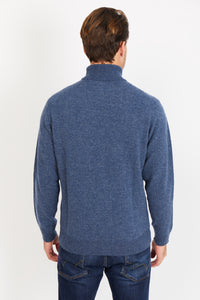 Diamond-Knit Lambswool Turtleneck Jumper