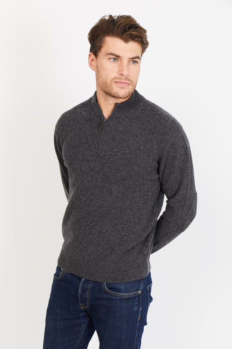 Half Zip Jumper, 100% Lambswool