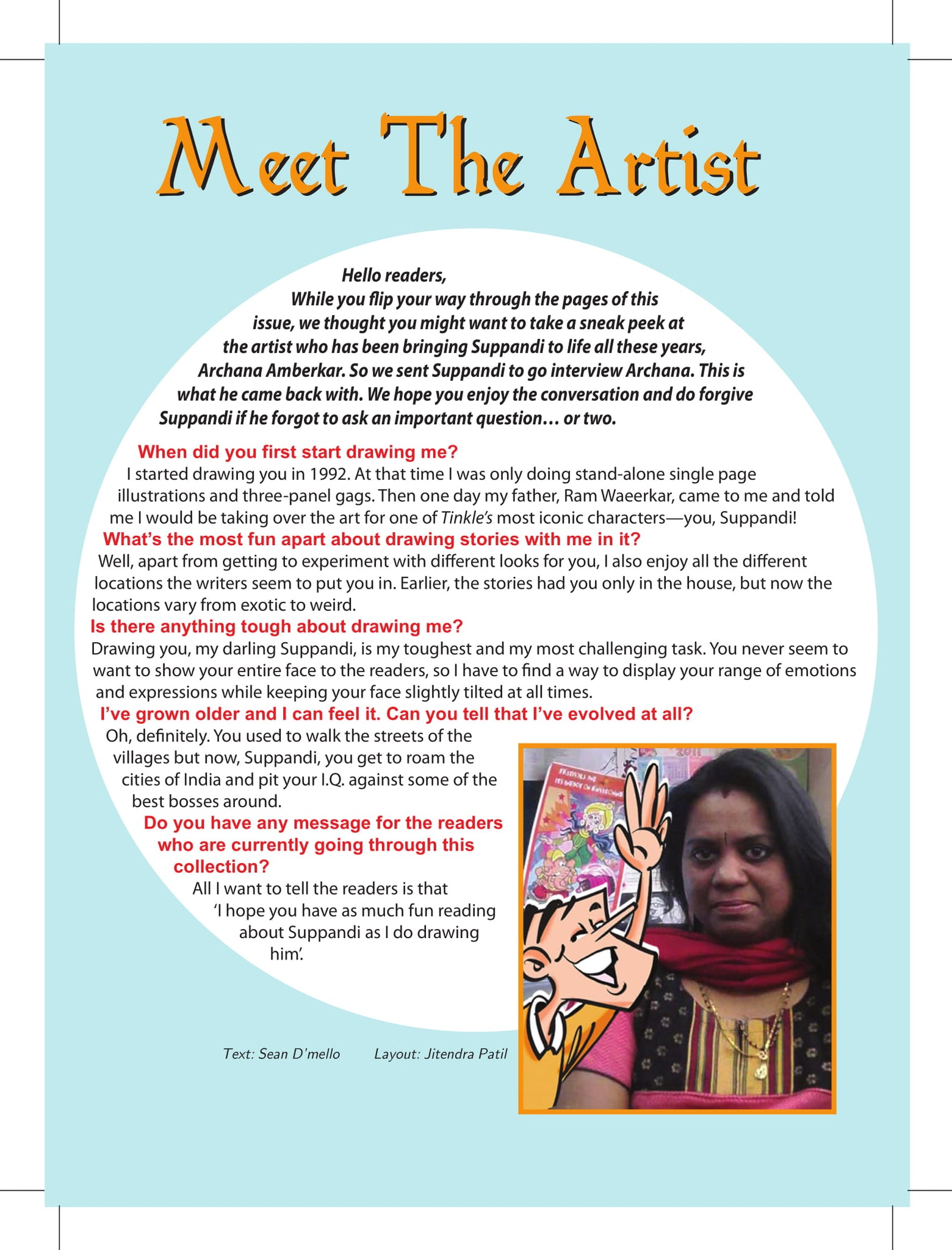Suppandi interviews his maker, Archana Amberkar