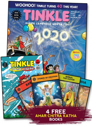 TINKLE MAGAZINE + TINKLE DOUBLE DIGEST 1 YEAR COMBO SUBSCRIPTION + 4 FREE AMAR CHITRA KATHA BOOKS