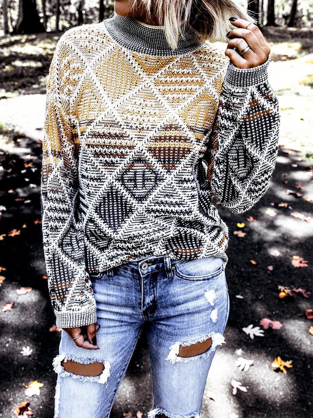 Yellow Long Sleeve Knitted Crew Neck Sweater