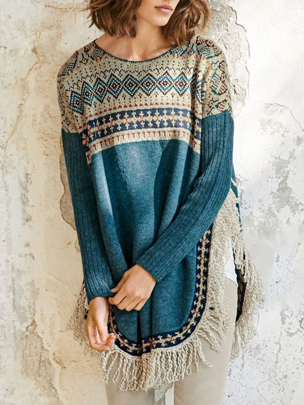 Blue Long Sleeve Patchwork plus size Sweater