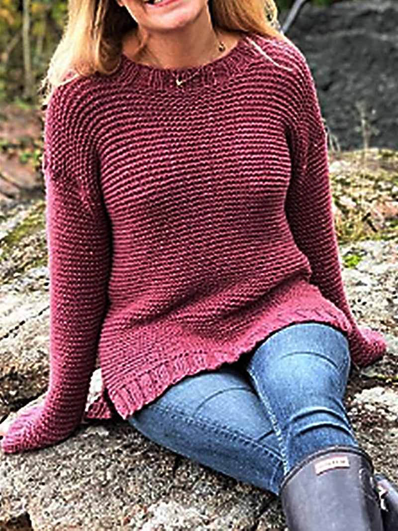 Wine Red Solid Long Sleeve Casual Round Neck Sweater