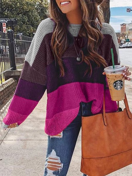 Multicolor Striped Statement Long Sleeve Plus Size Sweater