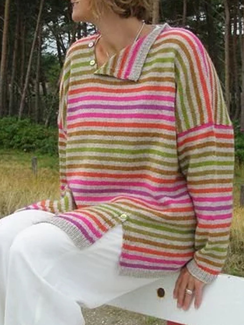 Multicolor Color-Block Vintage Striped Shawl Collar Sweater