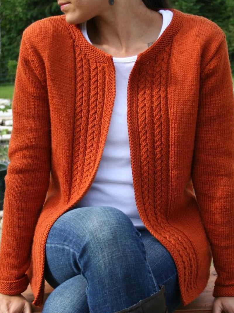 Casual Vintage Knitted Solid Sweater