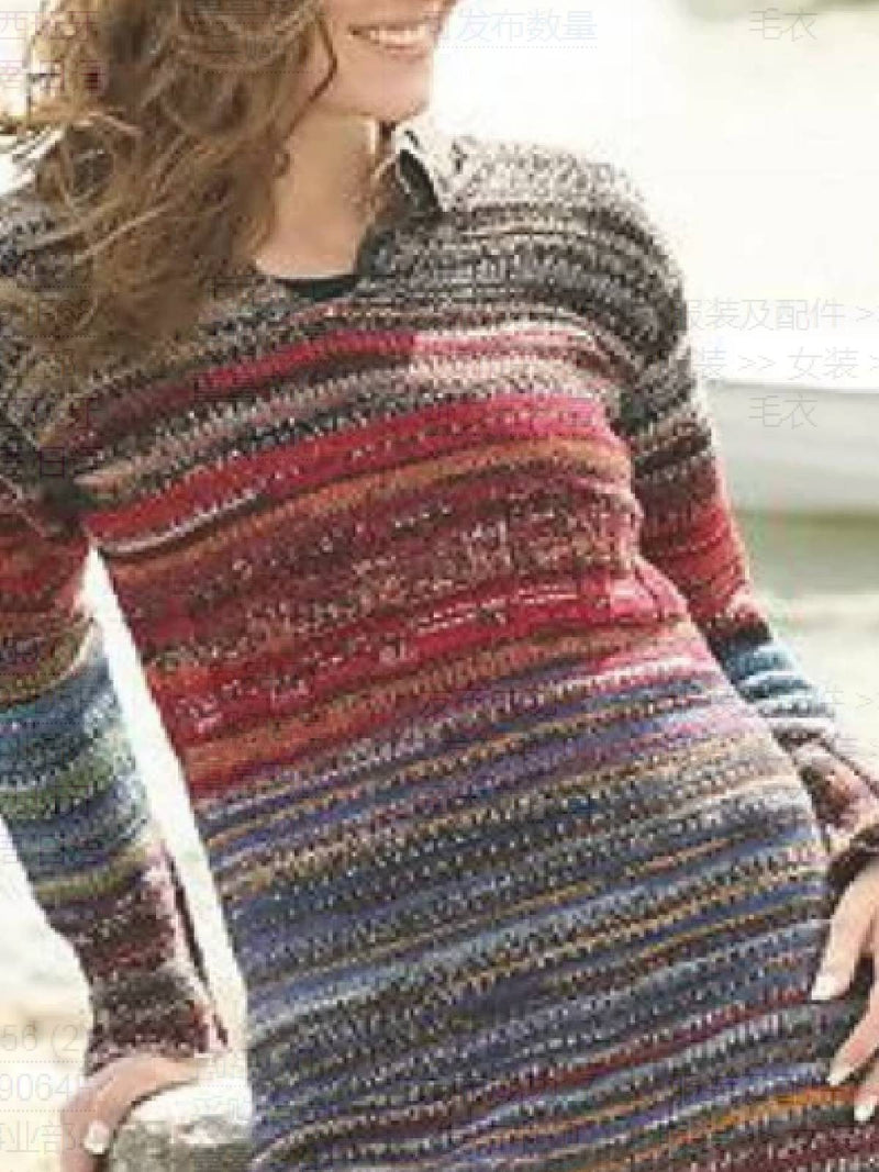Long Sleeve Cotton-Blend Round Neck Sweater