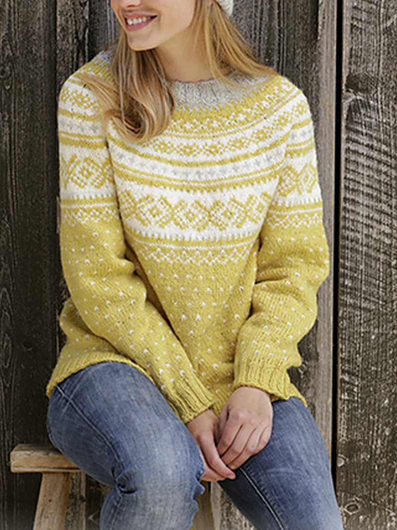 Printed Knitted Crew Neck Casual Sweater