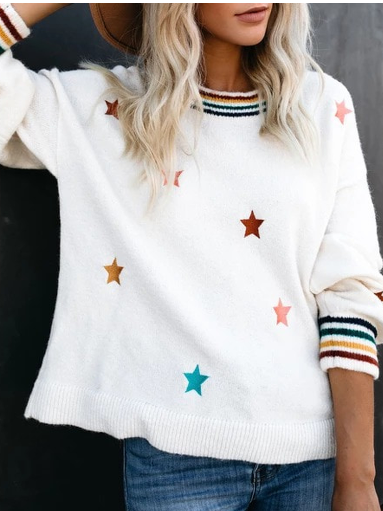 Cotton Crew Neck Casual Sweater