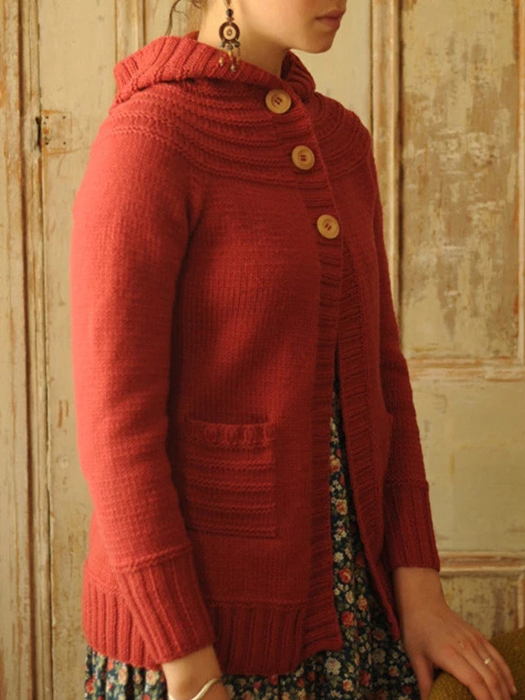 Red Casual Solid Sweater