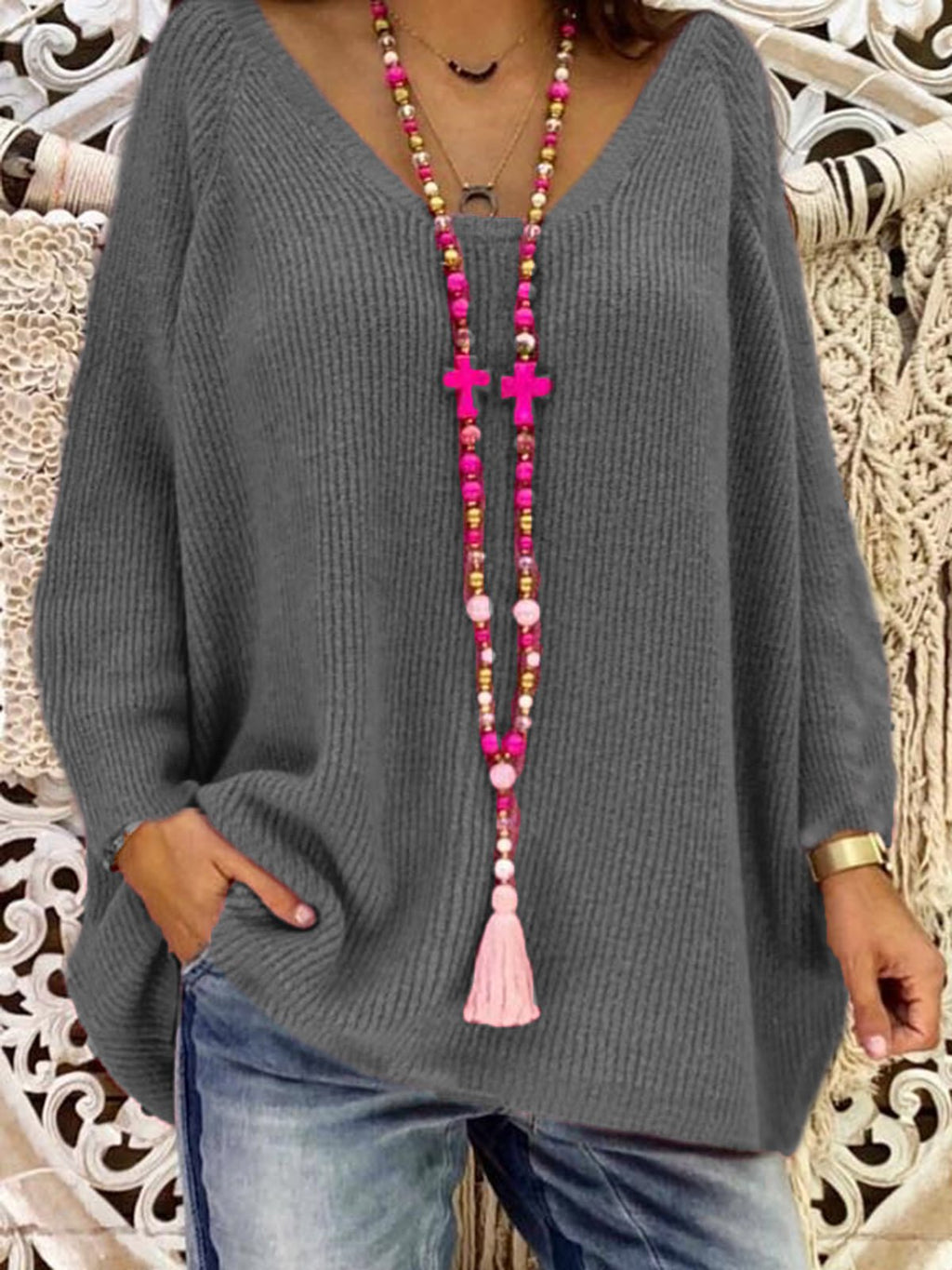 Plus Size Fuchsia Casual Cotton-Blend Shirts & Tops