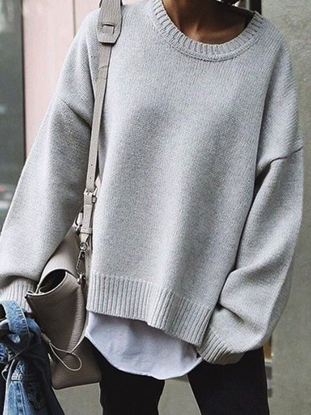 Gray Long Sleeve Cotton-Blend Crew Neck Sweater