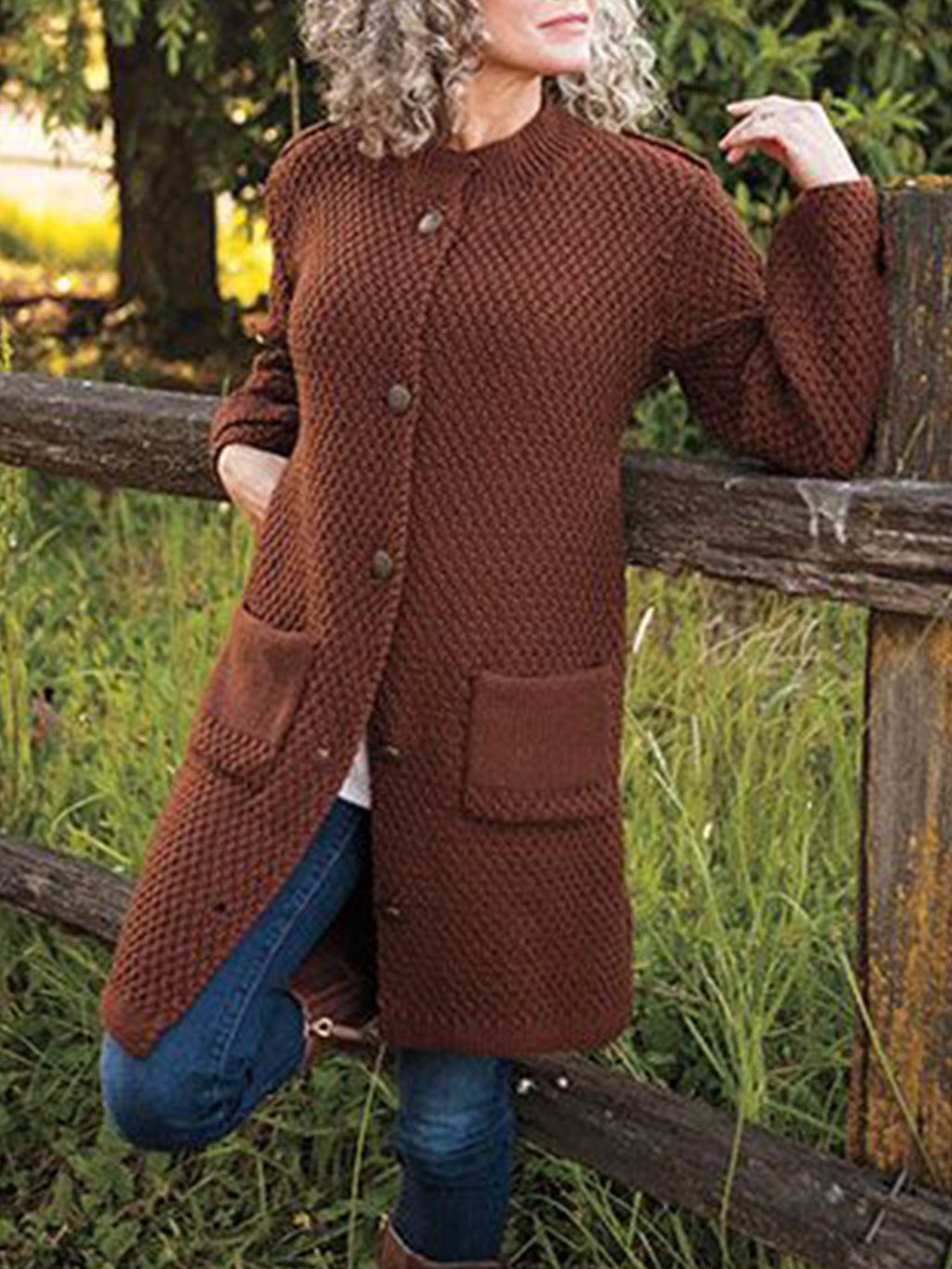 Deep Brown Shift Long Sleeve Sweater
