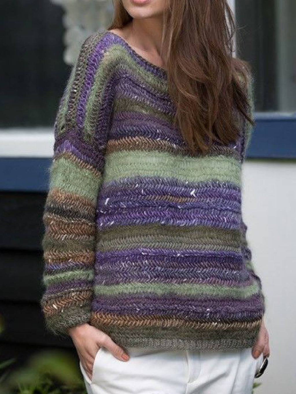 Purple Vintage Color-Block Cotton-Blend Sweater