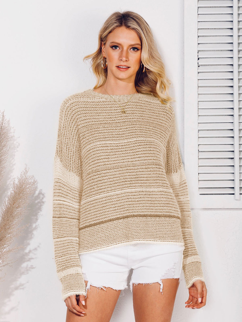 Crew Neck Knitted Striped Casual Sweater