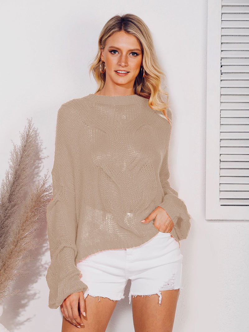 Cable Crew Neck Casual Balloon Sleeve Sweater