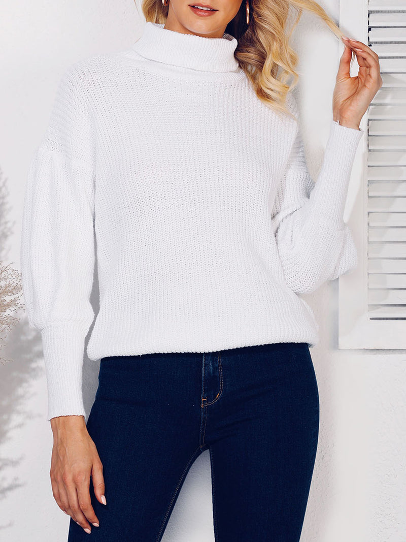 Knitted Casual Balloon Sleeve Shift Sweater