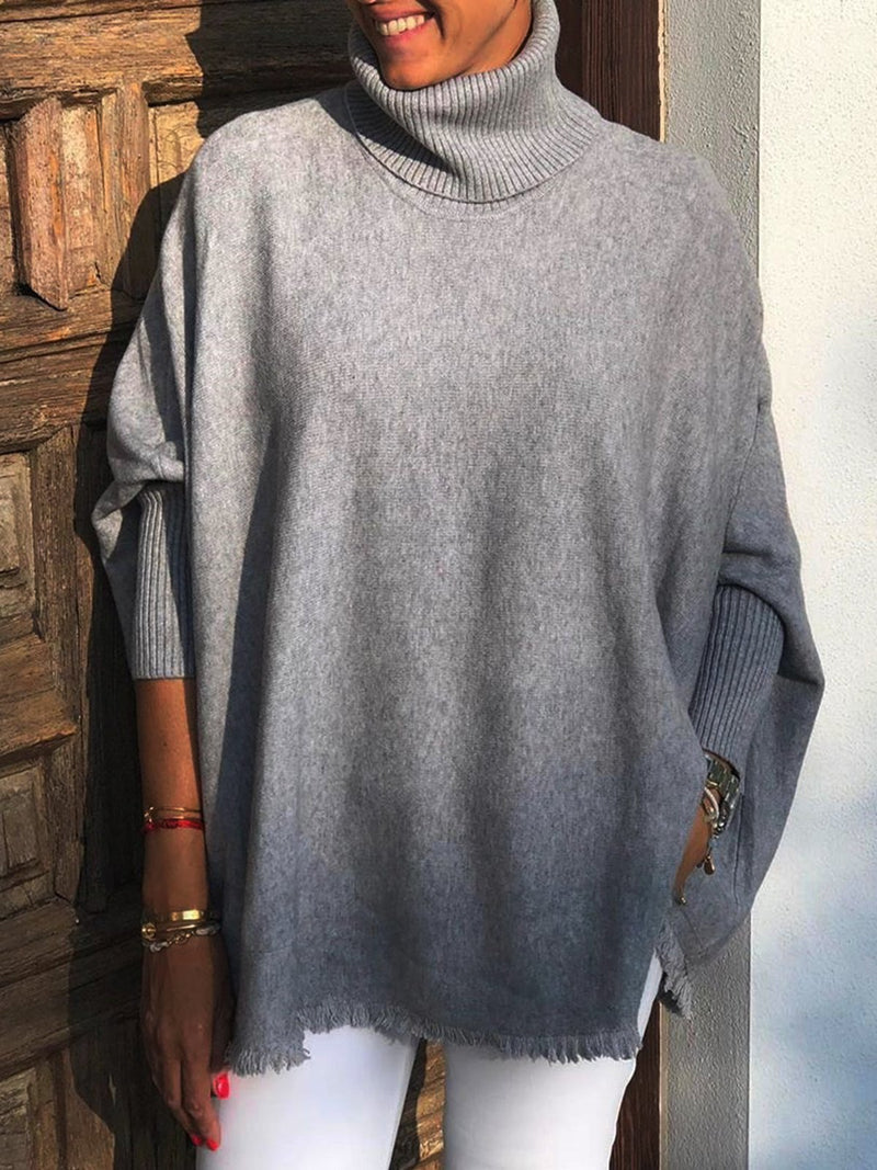Gray Knitted Long Sleeve Turtle Neck Solid Sweater