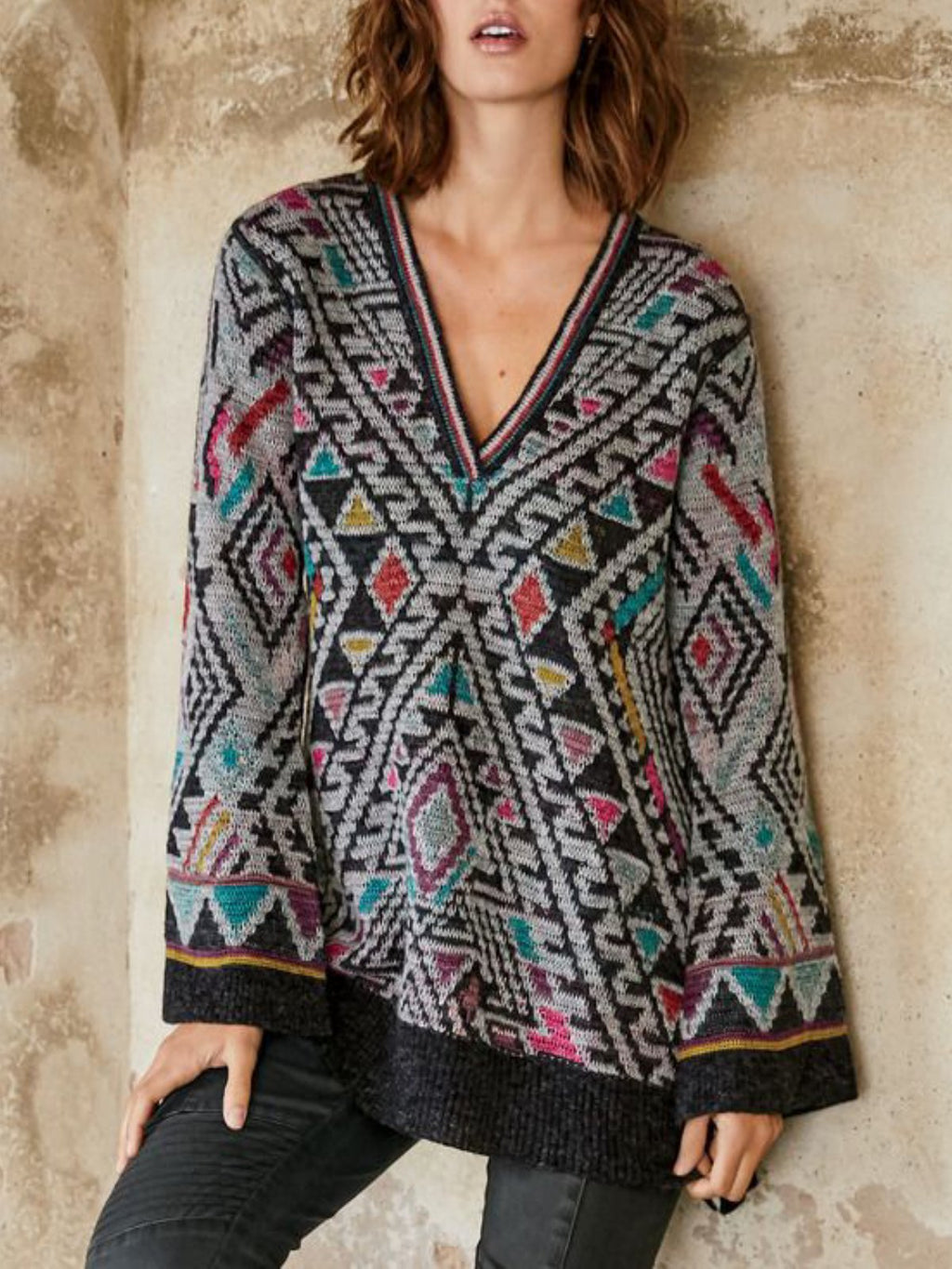 Grey Printed Vintage Patchwork V Neck plus size Sweater
