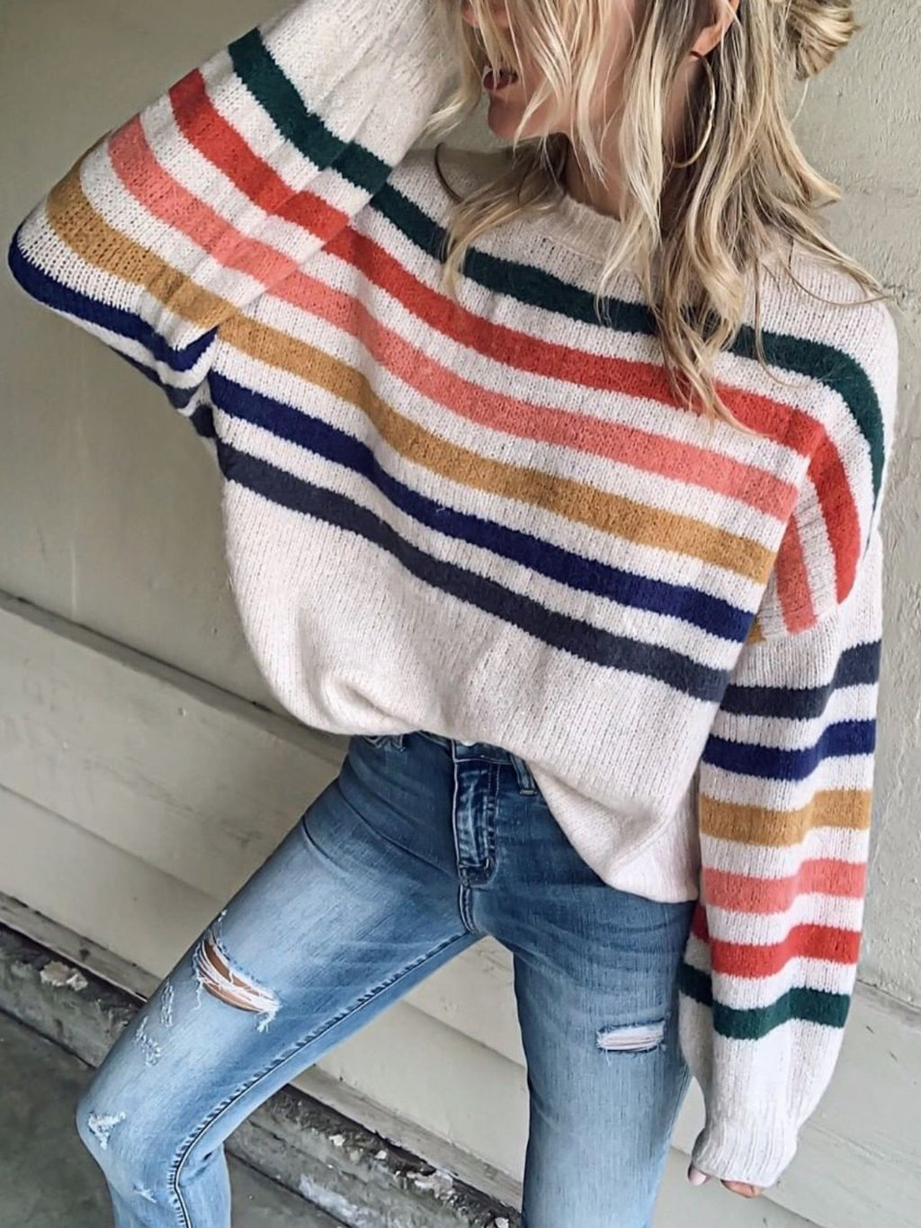 Beige Long Sleeve Printed plus size Sweater