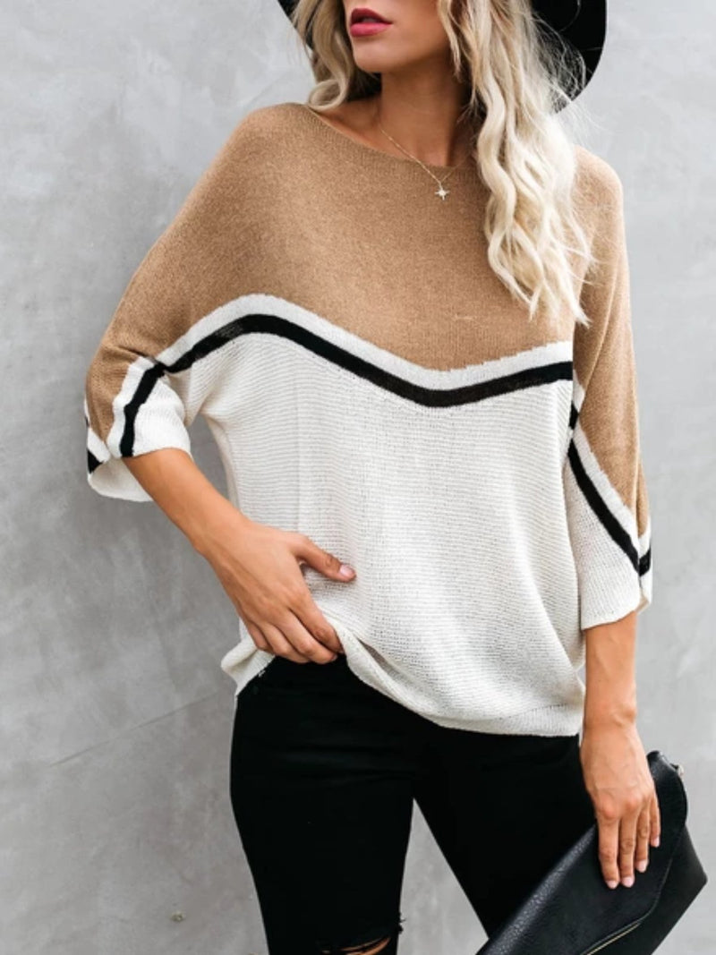 Blue Long Sleeve Printed Knitted plus size Sweater