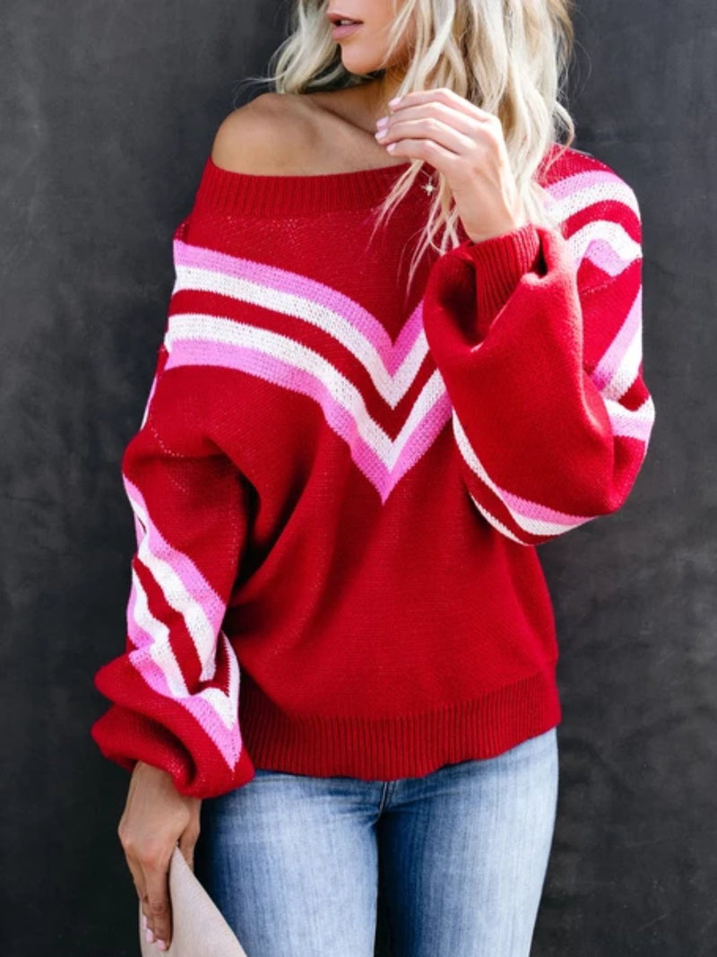 Red Long Sleeve Patchwork Off Shoulder Knitted plus size Sweater