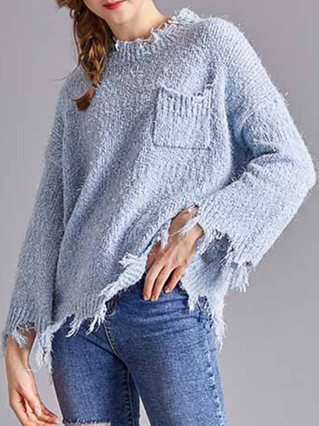Blue Casual Solid Sweater